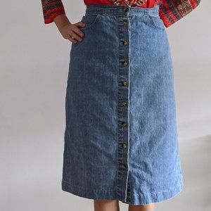 1990's Button Down Denim Market Skirt
